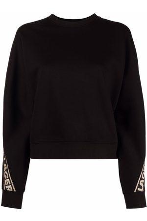 Karl Lagerfeld Logo glitter tape crop sweatshirt