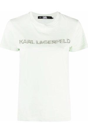 Karl Lagerfeld Crysal-embellished logo T-shirt