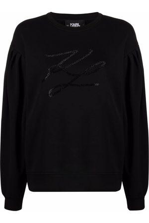 Karl Lagerfeld Logo-studded puff-sleeved sweatshirt