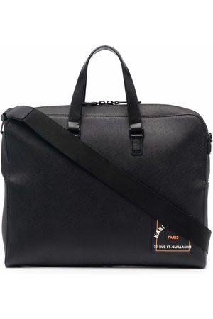 Karl Lagerfeld Men Laptop Bags - Saffiano logo-print briefcase