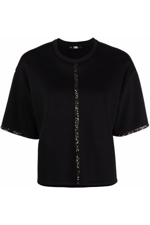 Karl Lagerfeld Sequin-embellished tape T-shirt