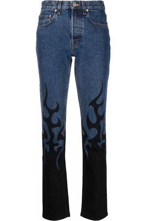 VETEMENTS Flame-print skinny-cut jeans