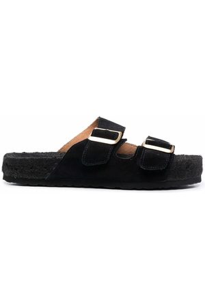 MANEBI Leather buckled slides
