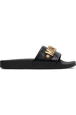 Men Sandals - Moschino & Gold Logo Lettering Pool Slides