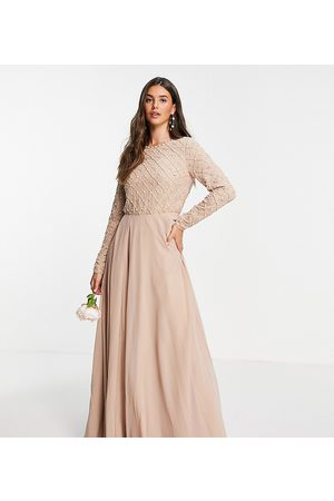 ASOS ASOS DESIGN Tall Bridesmaid maxi dress with long sleeve in pearl and beaded embellishment with tulle skirt