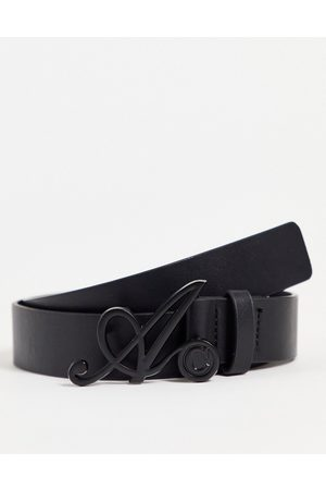 ASOS DESIGN ASOS Actual slim belt in faux leather with 'A' buckle detail