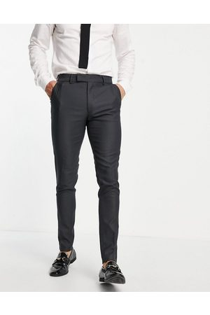 ASOS DESIGN Smart oxford skinny suit trousers in mid