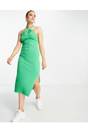 ASOS DESIGN Knitted midi dress with cut out detail in