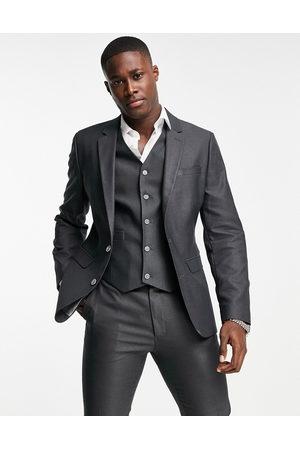 ASOS DESIGN Smart oxford skinny suit jacket in mid
