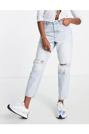 River Island Ripped knee mom jeans in light
