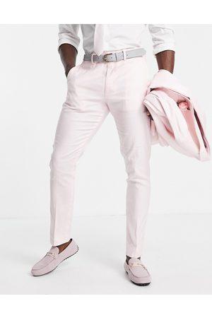 ASOS Skinny wedding suit trousers in pastel cotton linen