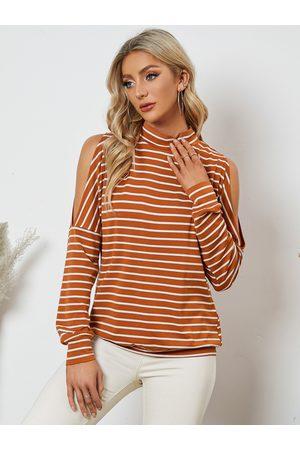 YOINS Women Long Sleeve - Cold Shoulder Striped Long Sleeve Tee