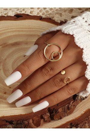 YOINS Women Rings - 2pcs Geometric Hollow Alloy Rings
