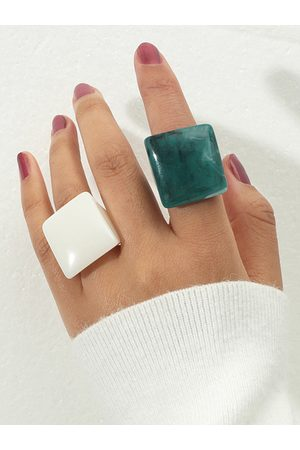 YOINS 2pcs Square Simple Acrylic Rings