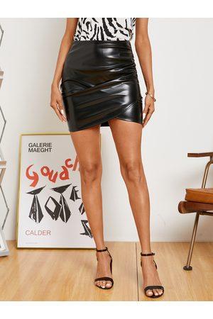 Yoins Faux Leather Wrap Hem Mini Skirt