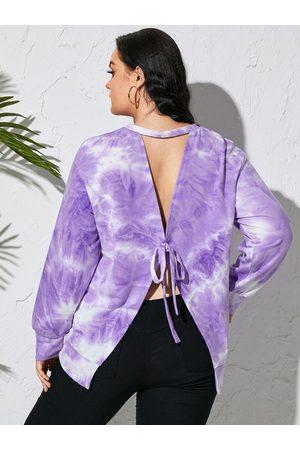 YOINS Plus Size Tie Dye Backless Design Tie-up Design Sweatshirt