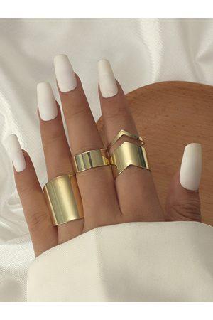 YOINS Women Rings - 3pcs Geometric Alloy Rings