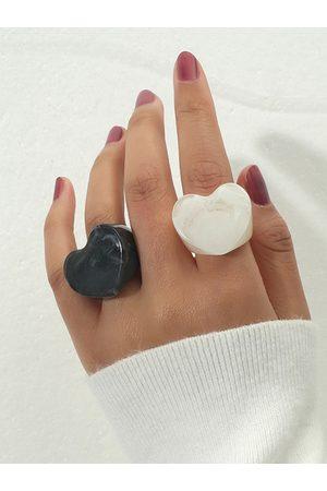 YOINS 2pcs Heart Acrylic Rings