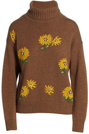 Lela Rose Needlepoint Sunflower Turtleneck