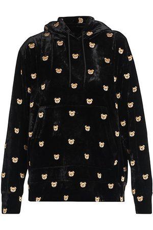 Moschino Women Hoodies - Bear-Embroidered Velvet Hoodie
