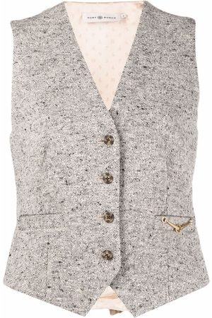 Tory Burch Women Gilets - Tweed horse-bit waistcoat