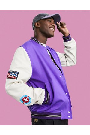 ASOS Men Bomber Jackets - Oversized varsity cotton bottom jacket in with embroidery badging
