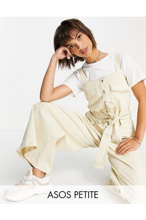ASOS Women Jumpsuits - ASOS DESIGN petite contrast stitch button front dungaree jumpsuit in stone-Neutral
