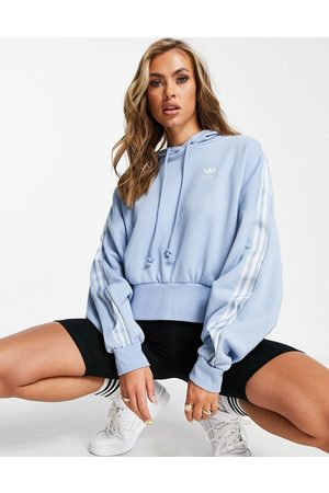 adidas Women Sweatshirts - Adicolor three stripe satin look hoodie in