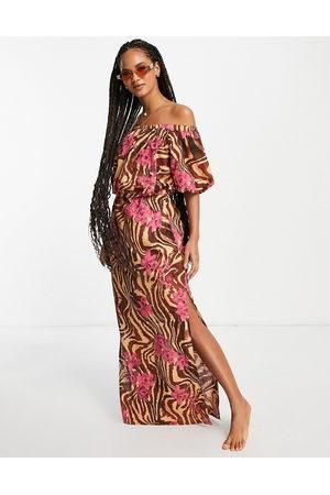 ASOS Off shoulder maxi beach dress in zebra tropical-Multi
