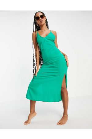 ASOS Sleek lace up low back midi dress in emerald