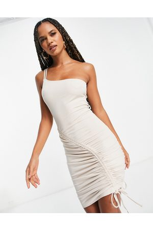 NA-KD Women Bodycon Dresses - Ruched detail bodycon midi dress in -Neutral