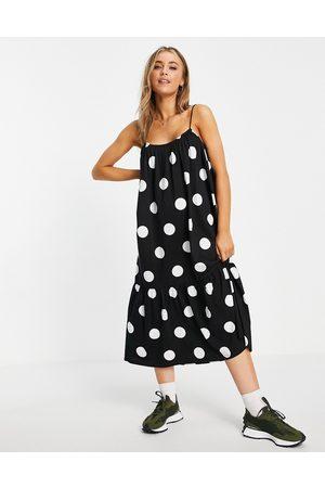 ASOS Women Casual Dresses - Strappy midi sundress with pep hem in giant spot-Multi
