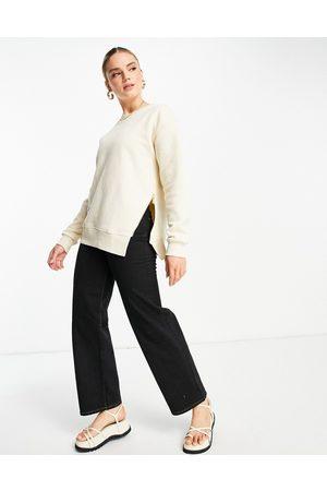 River Island Women Sweatshirts - Zip side sweatshirt in cream