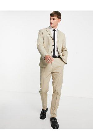 SELECTED Men Skinny Pants - Slim tapered suit trousers in -Neutral