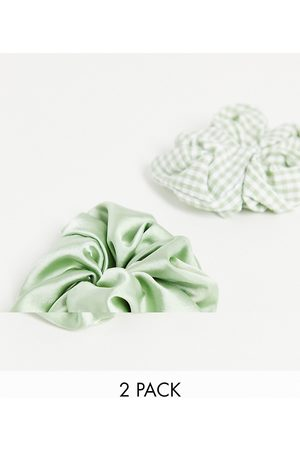 Monki Women Hair Accessories - Sukey 2 pack gingham and satin hair scrunchie in