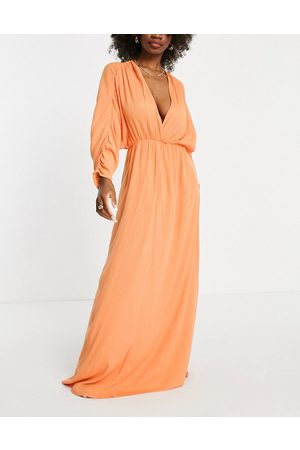 ASOS Women Maxi Dresses - Fuller bust plunge front beach maxi dress in coral