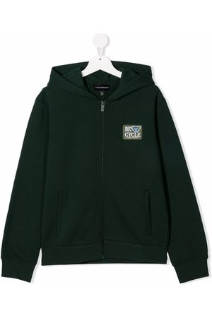 Emporio Armani Boys Hoodies - TEEN logo-patch zip-up hoodie