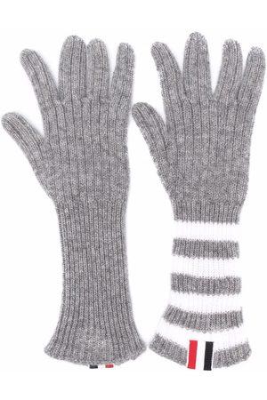 Thom Browne Boys Gloves - RWB stripe-detail ribbed-knit cashmere gloves