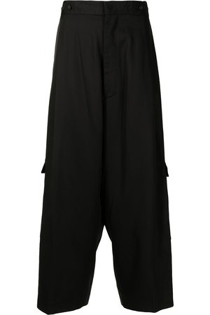 Y'S Pleat-detail cargo-pockets cropped trousers