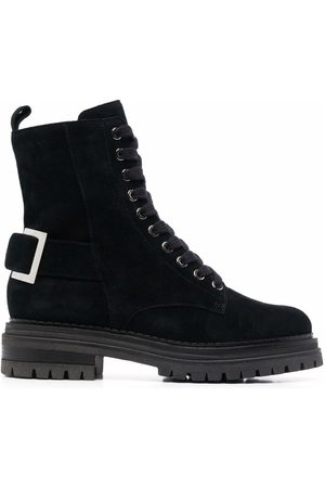Sergio Rossi Lace-up side-zip leather boots