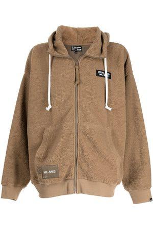 Izzue Men Sweatshirts - Embroidered slogan shearling hoodie