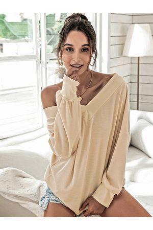 YOINS Women Long Sleeve - Simple Design V-neck Long Sleeves Tee
