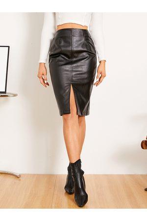 Yoins Slit Design Faux Leather Midi Skirt