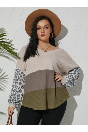 YOINS Plus Size Backless Design Patchwork Design Long Sleeves Knitwear