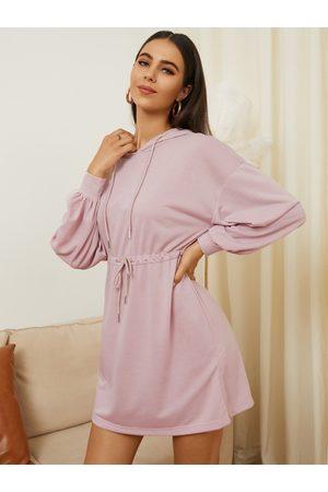 YOINS Tie-up Design Hooded Long Sleeves Sweatshirt Dress