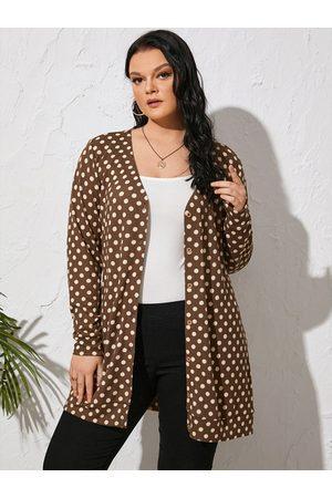 YOINS Women Long Sleeve - Plus Size Polka Dot Front Button Long Sleeves Kimono
