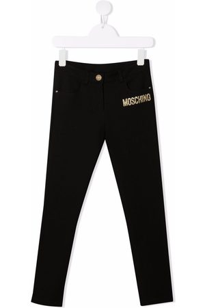 Moschino Girls Pants - Logo print fitted trousers