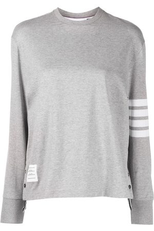 Thom Browne Women Long Sleeve - LONG SLEEVE OVERSIZED TEE IN MED WEIGHT JERSEY W/ ENGINEERED 4 BAR