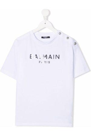 Balmain Girls Short Sleeve - Logo-print cotton T-shirt