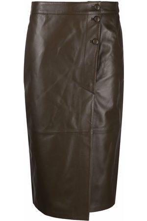 FEDERICA TOSI High-waisted leather wrap skirt